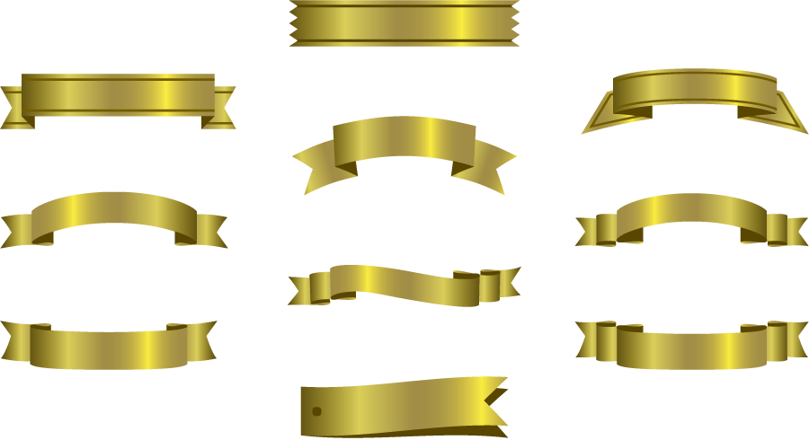 フリーイラスト 10種類のゴールドリボンのセット