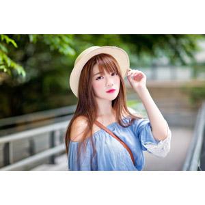 フリー写真, 人物, 女性, アジア人女性, 欣欣(00001), 中国人, 帽子, 麦わら帽子