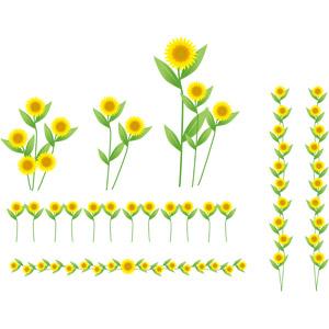フリーイラスト, ベクター画像, AI, 植物, 花, 向日葵(ヒマワリ), 飾り罫線(ライン), 黄色の花, 夏