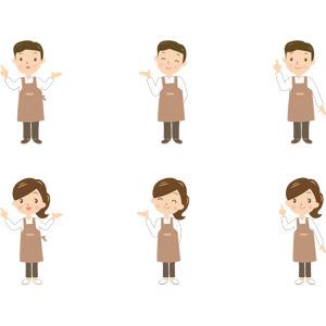 フリーイラスト, ベクター画像, AI, 人物, 男性, 女性, 仕事, 職業, エプロン, 店員, 喫茶店(カフェ), 飲食店, 指差す, 案内する, アドバイス