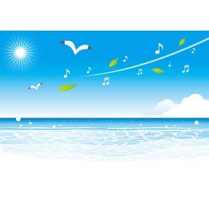 フリーイラスト, ベクター画像, AI, 背景, 海, 夏, 鴎(カモメ), 音符, 葉っぱ