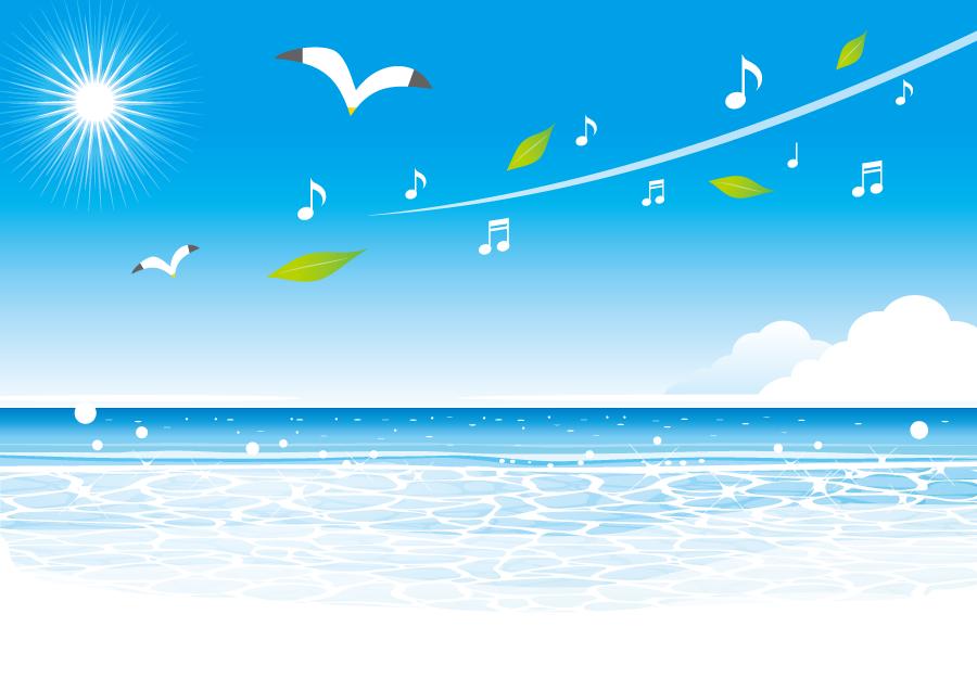 フリーイラスト 音符とカモメが飛ぶ夏の海の背景