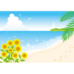 フリーイラスト, ベクター画像, AI, 風景, ビーチ(砂浜), 海, 向日葵(ヒマワリ), 足跡(人物), 灯台(ライトハウス), 夏, 南国