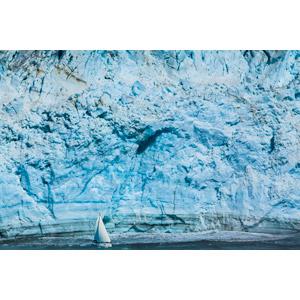 フリー写真, 風景, 氷, 氷河, 乗り物, 船, ヨット, アメリカの風景, アラスカ州