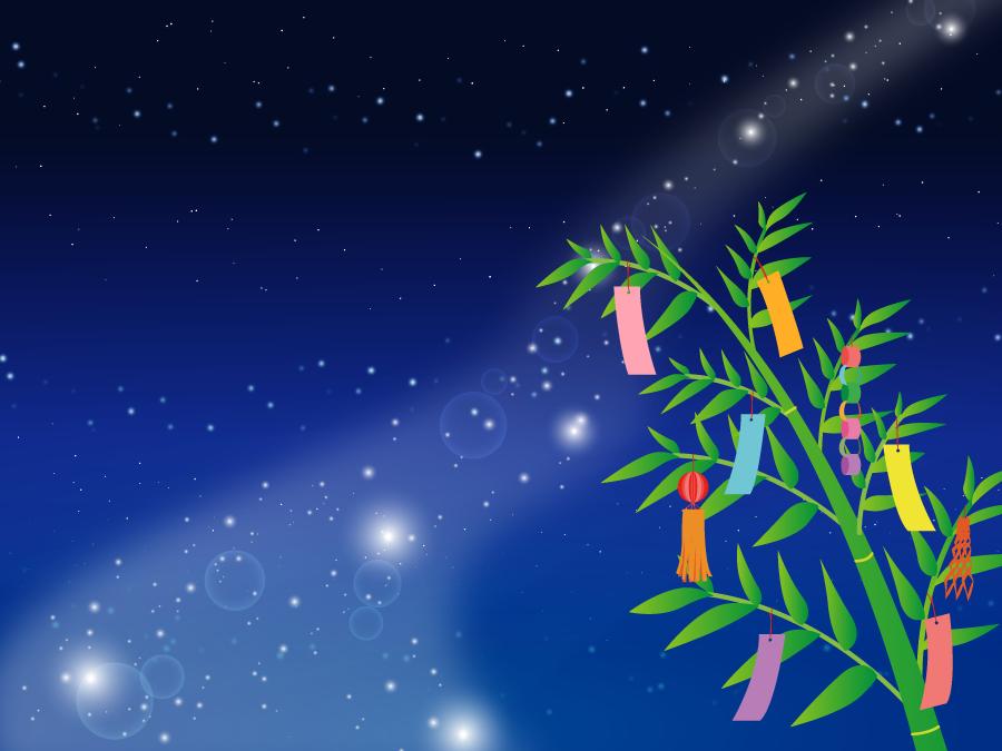 フリーイラスト 天の川と笹飾りの七夕の背景