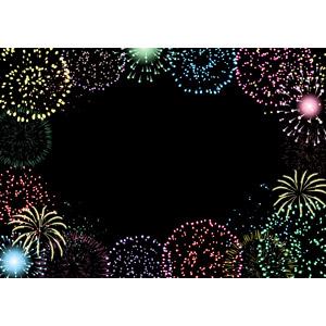 フリーイラスト, ベクター画像, AI, 背景, フレーム, 囲みフレーム, 花火, 打ち上げ花火, 夜, 夏
