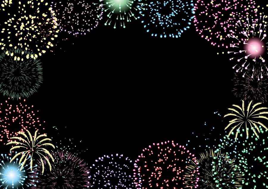 フリーイラスト 打ち上げ花火の飾り枠
