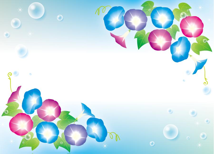 フリーイラスト あさがおの花と水滴の飾り枠