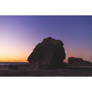 フリー写真, 風景, 自然, 海岸, 夕暮れ(夕方), 夕焼け, 岩, オーストラリアの風景
