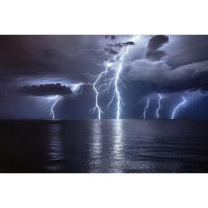 フリー写真, 風景, 自然, 暗雲, 落雷(カミナリ), 海, 夜