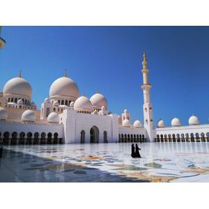 フリー写真, 風景, 建造物, 建築物, モスク, シェイク・ザーイド・モスク, アブダビ, アラブ首長国連邦の風景, 青空