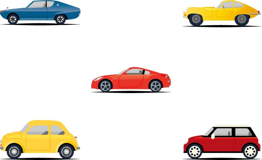 フリーイラスト 5種類の横向きの自動車のセット