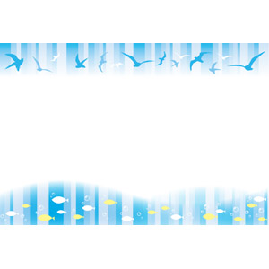 フリーイラスト, ベクター画像, AI, 背景, フレーム, 上下フレーム, 動物, 鴎(カモメ), 魚(サカナ), 群れ