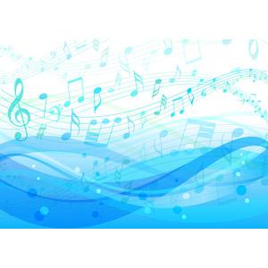 フリーイラスト, ベクター画像, AI, 背景, 海, 波, 音楽, 楽譜, 音符
