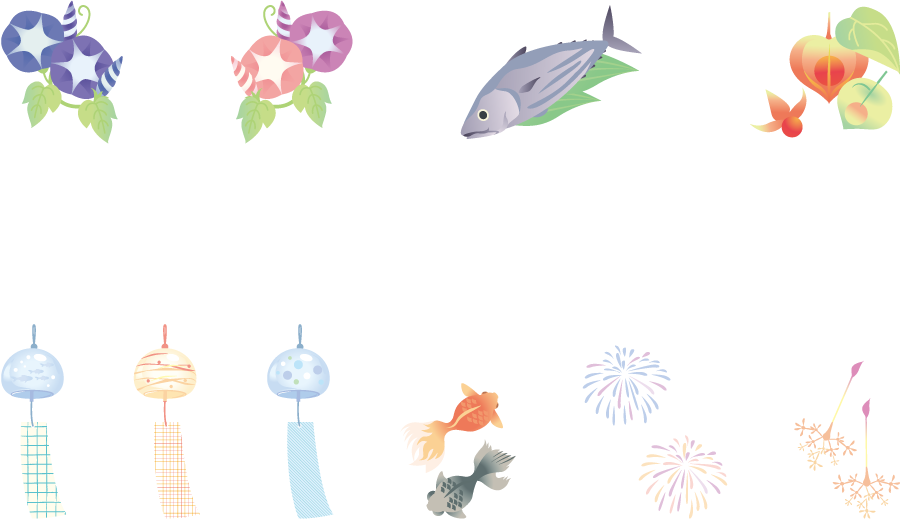 フリーイラスト 風鈴や花火や朝顔などの夏の風物詩のセット