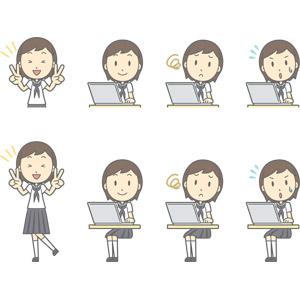 フリーイラスト, ベクター画像, AI, 人物, 少女, 少女(00247), 学生(生徒), 中学生, 学生服, セーラー服(学生服), ピースサイン(Vサイン), パソコン(PC), ノートパソコン, 困る, 焦る