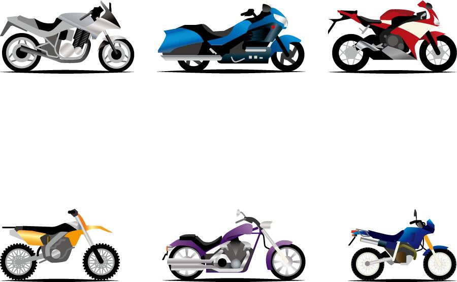 フリーイラスト 6種類のバイクのセット
