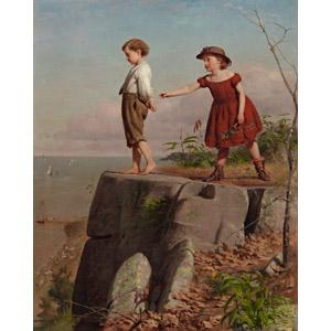 フリー絵画, 人物画, 子供, 男の子, 女の子, 崖, 引き留める