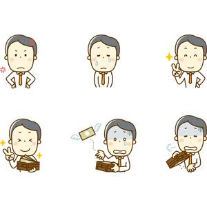 フリーイラスト, 人物, 男性, 男性(00220), 仕事, 職業, サラリーマン, ビジネスマン, 怒る, 泣く(泣き顔), 悲しい, ピースサイン(Vサイン), 財布, お金持ち, 貧乏, お金