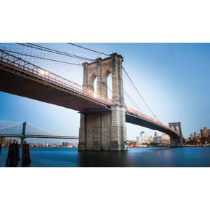 フリー写真, 風景, 建造物, 橋, 河川, アメリカの風景, ニューヨーク, ブルックリン橋