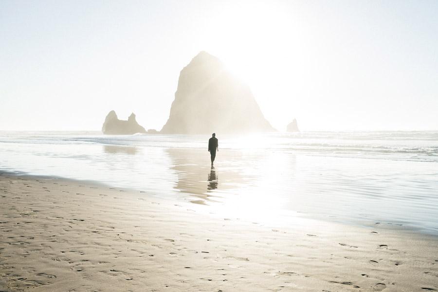 フリー写真 太陽の光と砂浜を歩く人物