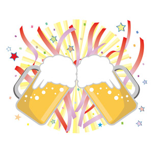 フリーイラスト, ベクター画像, EPS, 飲み物(飲料), お酒, ビール, ビールジョッキ, 乾杯, 新年会, 忘年会, 12月, 1月, 紙テープ, 紙吹雪, 星(スター)