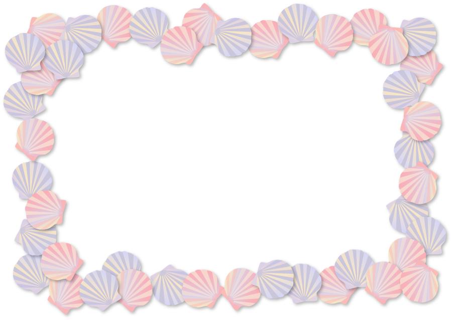 フリーイラスト 貝殻の囲みフレーム