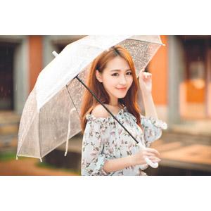 フリー写真, 人物, 女性, アジア人女性, 女性(00249), 中国人, 傘, 雨