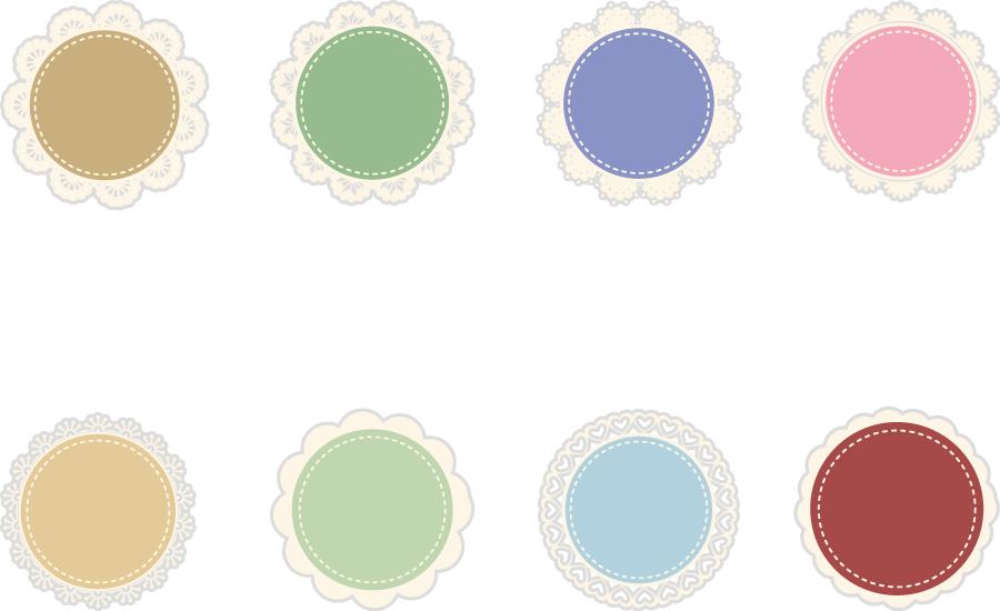 フリーイラスト 8種類の円とレース飾りのセット