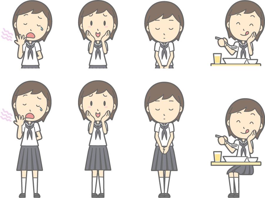 フリーイラスト 欠伸するなどの8種類の夏服の女子中学生のセット