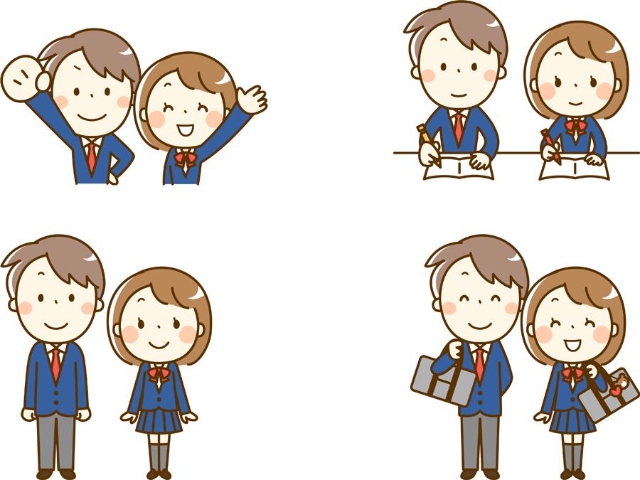 フリーイラスト 4種類の学生のカップルのセット