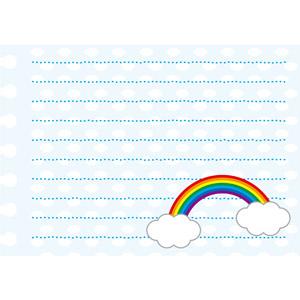 フリーイラスト, ベクター画像, AI, 背景, 便箋(便せん), 虹, 雲