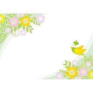 フリーイラスト, ベクター画像, AI, 背景, フレーム, 対角フレーム, 植物, 花, 四つ葉のクローバー, 小鳥