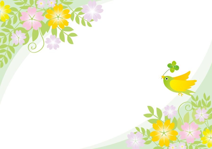 フリーイラスト 花と小鳥の飾り枠