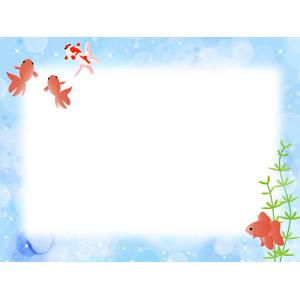 フリーイラスト, ベクター画像, AI, 背景, フレーム, 囲みフレーム, 動物, 魚類, 魚(サカナ), 金魚(キンギョ), 夏