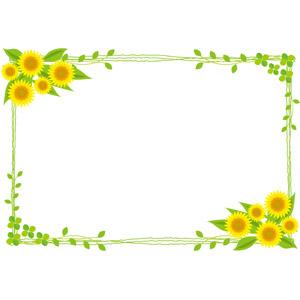フリーイラスト, ベクター画像, AI, 背景, フレーム, 囲みフレーム, 植物, 花, 向日葵(ヒマワリ), クローバー(シロツメクサ), 四つ葉のクローバー, 夏