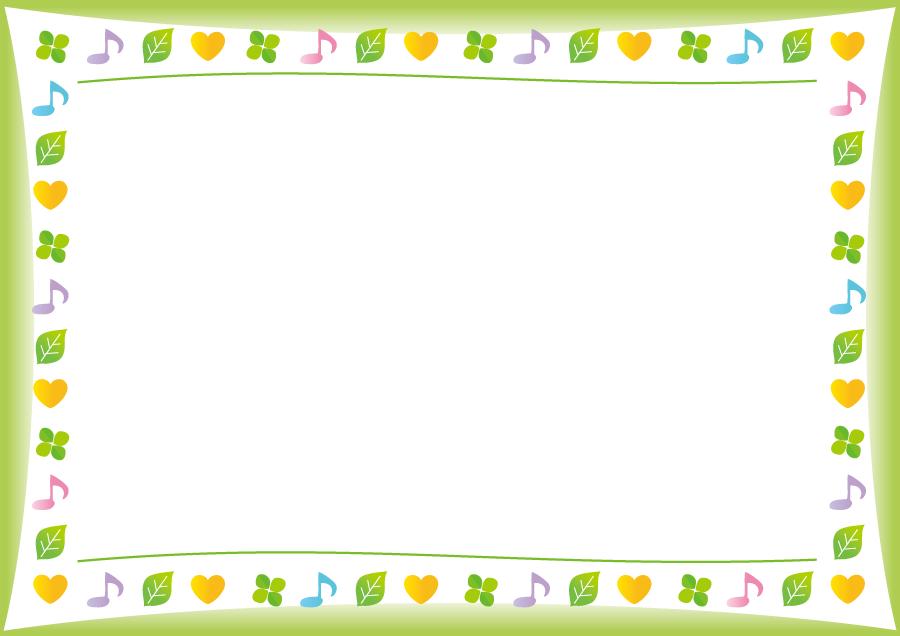 フリーイラスト 音符と葉とハートの囲みフレーム