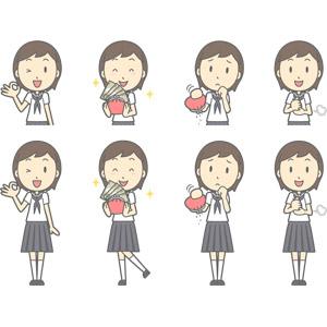 フリーイラスト, ベクター画像, AI, 人物, 少女, 少女(00247), 学生(生徒), 中学生, 学生服, セーラー服(学生服), OKサイン, お金持ち, 財布, 貧乏, 納得する, 閃く, ウインク