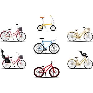 フリーイラスト, ベクター画像, AI, 乗り物, 自転車, ママチャリ(シティサイクル), 折りたたみ自転車, ロードバイク, マウンテンバイク, 電動アシスト自転車