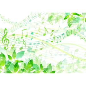 フリーイラスト, ベクター画像, AI, 背景, 植物, 葉っぱ, 新緑, 音楽, 楽譜, 音符