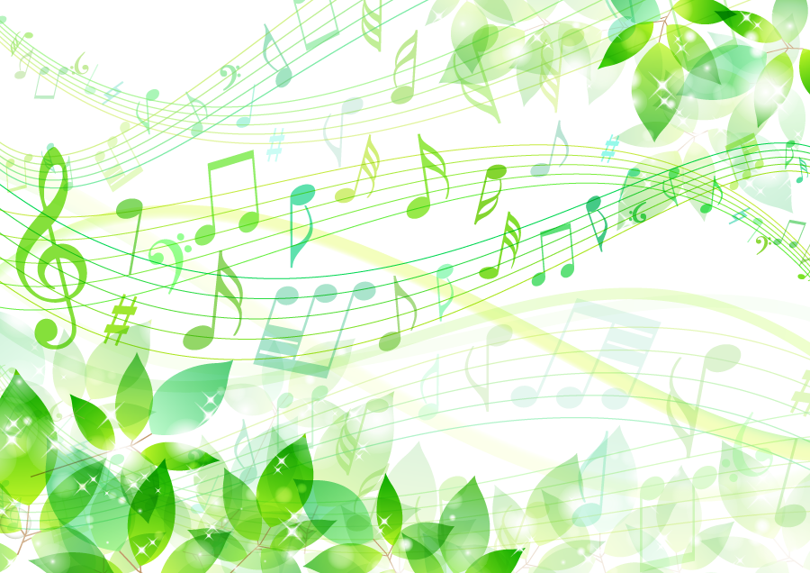 フリーイラスト 新緑の葉と流れるメロディの背景