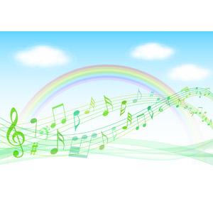 フリーイラスト, ベクター画像, AI, 背景, 空, 雲, 青空, 虹, 音楽, 楽譜, 音符
