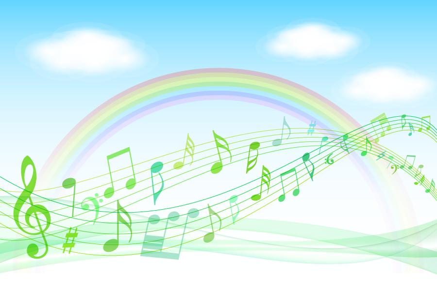 フリーイラスト 虹の架かる青空と楽譜の背景