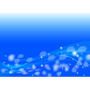 フリーイラスト, ベクター画像, AI, 背景, 海, 水中, 動物, 魚(サカナ), 群れ, 青色(ブルー)