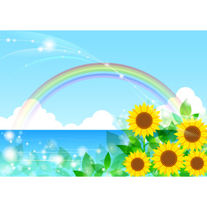 フリーイラスト, ベクター画像, AI, 背景, 夏, 海, 虹, 青空, 植物, 花, 向日葵(ヒマワリ), 黄色の花, 新緑, 葉っぱ, 輝き