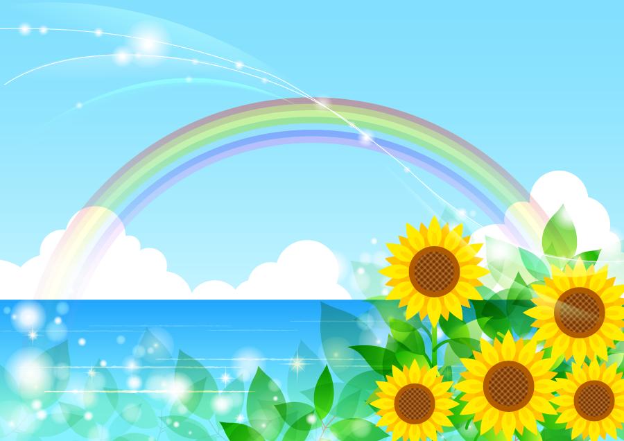 フリーイラスト ひまわりの花と虹の架かる海の背景