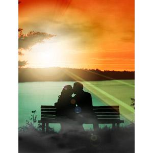 フリー写真, フォトレタッチ, 人物, カップル, 恋人, キス(口づけ), 愛(ラブ), シルエット(人物), 人と風景, 湖, 夕暮れ(夕方), 夕焼け, 夕日, 太陽光(日光), 座る(ベンチ), 二人