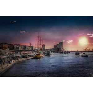 フリー写真, 風景, 建造物, 建築物, 港, 海, 夕暮れ(夕方), 夕日, 船, ドイツの風景, ハンブルク, 旅客機, 飛行機
