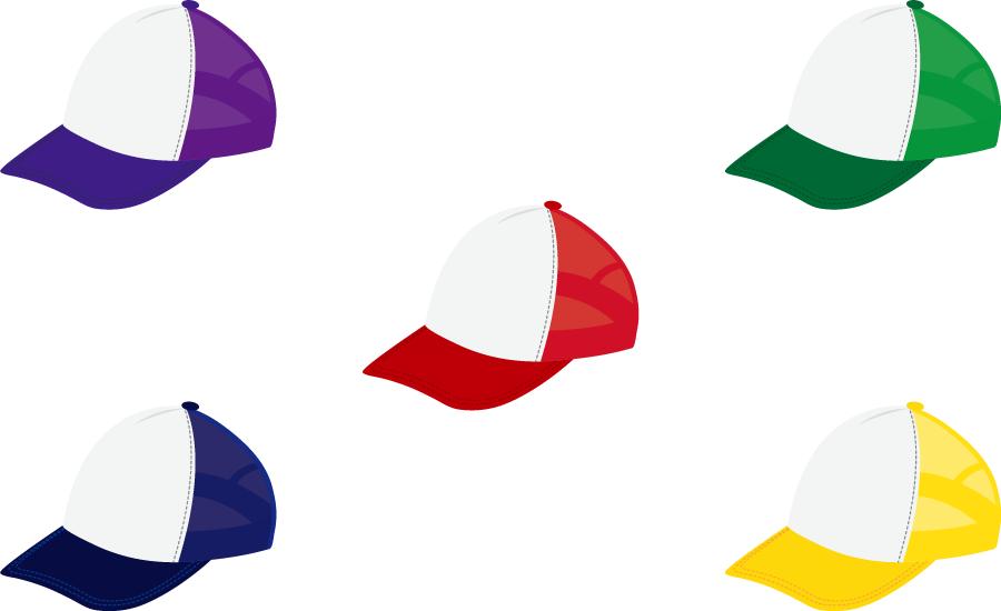 フリーイラスト 5種類のキャップ帽のセット