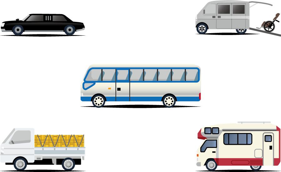 フリーイラスト キャンピングカーやリムジンなどの5種類の自動車のセット